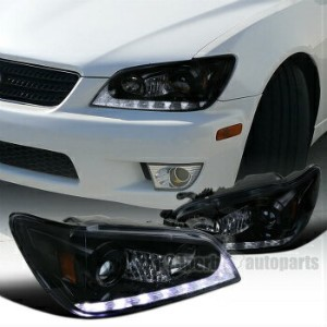 レクサス ヘッドライト 2001-2005 Lexus IS300 Glossy Black Projector Headlights LED DRL Signal Strip 2001...
