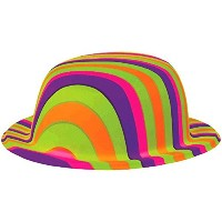 【送料無料】【[Amscan]Amscan Groovy 60's Party Rainbow Stripes Bowler Hat Multi Color 4 x 9.2 250278 ...