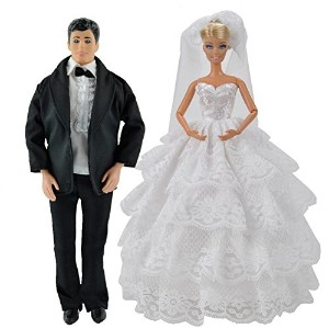 [E-ティン]E-TING Beautiful Wedding Gown Dress Clothes + Formal Suit Outfit For Barbie Ken Doll SKU40841 [並行輸入品]