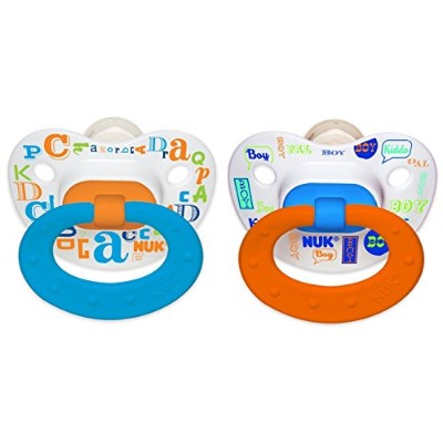 NUK Baby Talk Puller Pacifier, 0-6 Months, Blue/Orange by NUK
