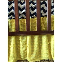Ruffle Bed Skirt Crib Bedding Dust Ruffle for Baby Girl Nursery Bed in Bright Yellow by A Vision to...