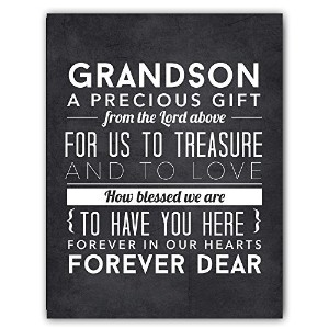 Adorable Grandchild Grandson Gift from Grandparents, Grandson Quote Chalkboard Nursery Art Print by...