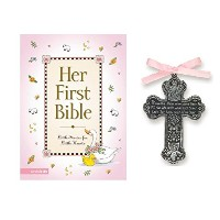 Baby Girl First Bible and 4 Pewter Baptism Guardian Angel Crib Cross by Mixed