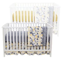 Yellow Tulip 4 Piece Baby Crib Bedding Set - Skirt, Coverlet and Two Sheets by Balboa Baby