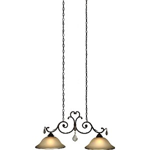 """Artcraft照明ac1835Florence 2ライトLinearシャンデリア、 41.75"""" Width/Dia, 19.25"""" Height, 16"""" Extension from..."""