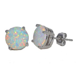 8mm Simulated Opal Round Stud Earrings .925 Sterling Silver Rhodium Finish