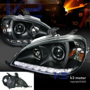 ベンツ ヘッドライト 02-05 Mercedes Benz W163 ML350 ML55 SMD Led DRL Black Projector Headlights Lamps 02...