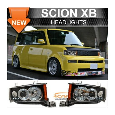 Scion xB ヘッドライト 03-07 Scion xB LED Halo Projector Headlights Black Pair 03-07サイオンxBのLEDヘイロープロジェクターヘッ...