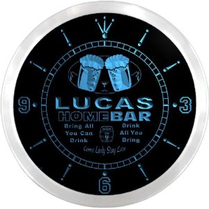 LEDネオンクロック 壁掛け時計 ncp1286-b LUCAS Home Bar Beer Pub LED Neon Sign Wall Clock