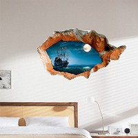 3D Night Boat Wall Decals Wall Hole Wall Art Stickers 38 Inch (Usa)