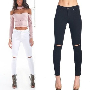 Hot Sale Autumn Winter Women High Waisted Jeans Skinny Stretchy Ripped Pants