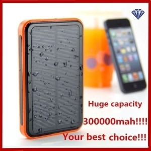 IH 300000MAH Waterproof Solar Power External Power Bank With LED Light For Mobile Phones + Cable For