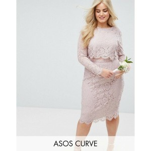エイソス レディース ワンピース トップス ASOS CURVE WEDDING Lace Long Sleeve Midi Pencil Dress Mink