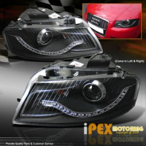 アウディ ヘッドライト For 2006 2007 2008 Audi A3 [BRIGHTEST LED STRIP] Projector Black Headlights Lamp 2006...