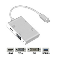 ANELA USB C to HDMI VGA DVI 変換アダプター ハブ 分配 4 in 1 1080p 対応 Apple MacBook Google ChromeBook 4Kテレビ...