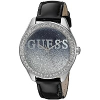 GUESS Women's U0823L2 Trendy Silver-Tone Watch with Black Dial %カンマ% Crystal-Accented Bezel and...