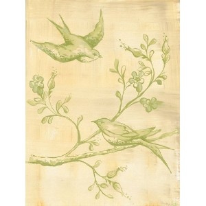 Oopsy Daisy Toile Birdies Green Stretched Canvas Wall Art by Heather Gentile-collins, 18 by 24-Inch...