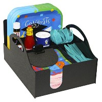 Paper Plate, Napkin, Forks, Spoon and Condiment Organizer for Picnics & Parties. Great in The...