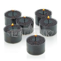 Set of 36 Black Tealight Candles with Clear Cup Burn 8 Hour, Unscented , in a Box by Light In the...
