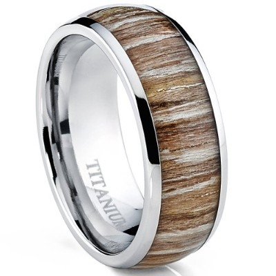 (Z+1) - Ultimate Metals Co. Titanium Ring Wedding Band, Engagement Ring with Real Wood Inlay, 8mm...
