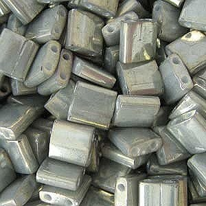 Grey Galvanized Luster Tila Beads 7.2 Gram Tube By Miyuki Are a 2 Hole Flat Square Seed Bead 5x5mm...