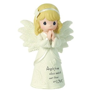 Precious Moments、宗教ギフト、上からAngels Watch Over Those We Love、Bisque Porcelain Figurine , # 161061By...