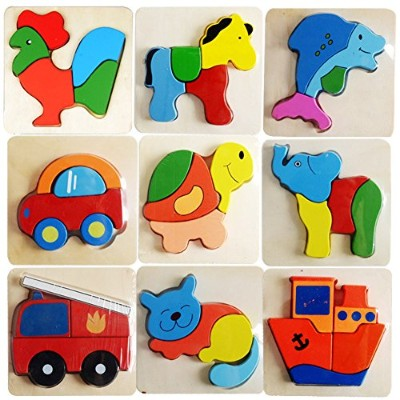 LuxBene(TM)BS#S Wooden Kid Child Cartoon Animal Design Puzzle Game Educational Toy