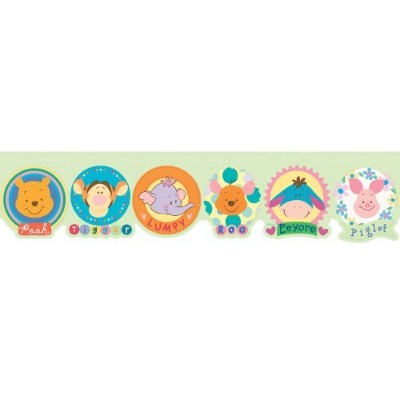 Imperial Disney Home DF059173D Winnie the Pooh and friends Die-cut Border, Pastel Green, 6.83-Inch...