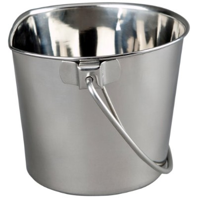 Advance Pet Products Heavy Stainless Steel Flat Side Bucket, 4-Quart by Advance Pet Products