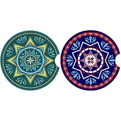 (Mandala Style) - LogHog Car Coaster Pack of 2,Mandala Style Absorbent Car Cup Holder for Drinks ...