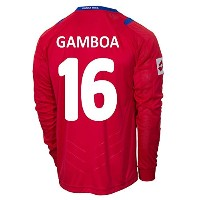 Lotto GAMBOA #16 Costa Rica Home Jersey World Cup 2014 (Long Sleeve)/さっかーユニフォーム コスタリカ ホーム用 長袖...