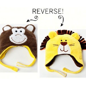 Luvali Convertibles LCKDWLLO Lion/Monkey Reversible Kid's Winter Hat Large