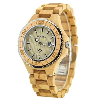 (MEN, Maple) - BEWELL Wooden Watches with Calendars Waterproof Quartz Chairs Round Table Light...