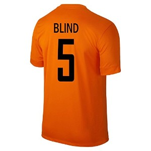 Nike Blind #5 Holland Home Jersey 2014-15//サッカーユニフォーム オランダ ホーム用  ブリント 背番号5 (Small)