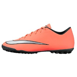 Nike Mercurial Victory V Kids' Turf Soccer Cleat (Bright Mango/Hyper Turquoise/Metallic Silver)...