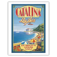 Catalina by Air–Los Angeles to Catalina–ヴィンテージスタイルAirline旅行ポスターby Kerne Erickson–Fineアートプリント...