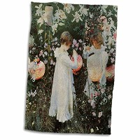 3drose BLN花絵画Fineアートコレクション – カーネーション、リリー、リリー、ローズby John Singer Sargent Little Girls in a Garden –...