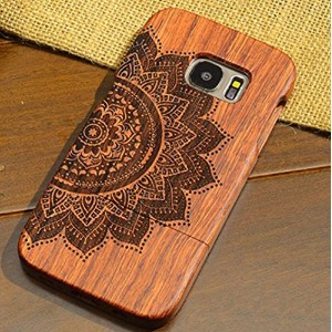 Galaxy S6Edge Plus ケース, Handmade Rosewood Wooden Sculture Texture カバー, TAITOU Ultra Slim Thin...