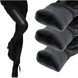 New thickening black leather boots leggings skinny pants winter warm women s trousers winter pants