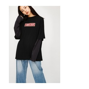 LOOK OUT LAYERED TSJ【マウジー/MOUSSY レディス Tシャツ・カットソー BLK ルミネ LUMINE】