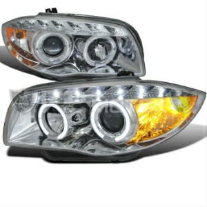 BMW ヘッドライト 07-13 BMW E82 E88 US E87 1-SERIES LED HALO PROJECTOR HEADLIGHTS CHROME 7月13日BMW E82...