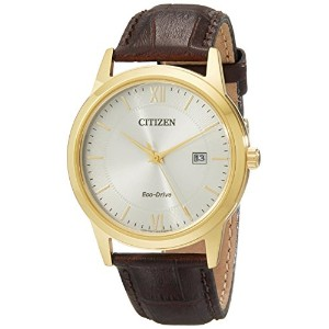 Citizen Men 's aw1232 – 04 A eco-driveゴールド調Watch with Brownレザーバンド