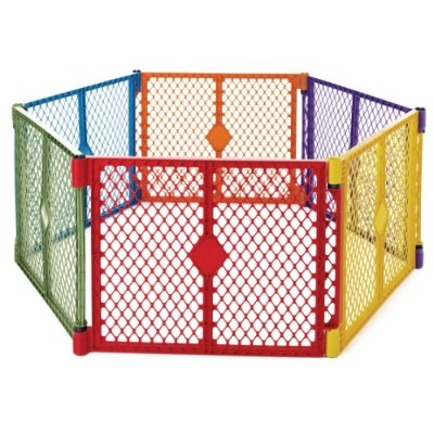 North States Superyard Colorplay 6-Panel Play Yard, Portable Indoor-Outdoor, Multi-Colored by North...