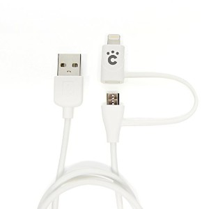 cheero 2in1 USB Cable with micro USB & Lightning connector (60cm) [ Apple社のMFi 認証取得済み ] 充電 / データ転送...
