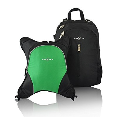 Obersee Rio Diaper Bag Backpack with Detachable Cooler, Black/Green by Obersee