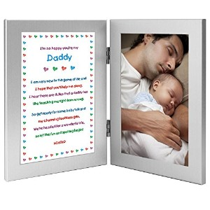 Daddy Gift From Newborn - New Dad Sweet Poem in Double Frame - Add Photo by Poetry Gifts