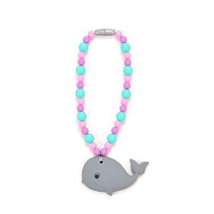 Nummy Beads Gray & Pink Whale Baby Carrier Teether Teething Accessory Toy by Nummy Beads