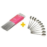 Kitchen Art Korean Chopsticks 10 Pairs Vacuum Hollow Non-slip & Spoon 10 pcs Stainless Steel...