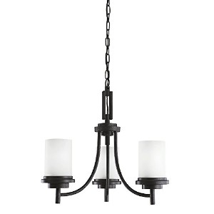 Sea Gull Lighting 31660-839 Chandelier with Satin EtchedGlass Shades, Blacksmith Finish by Sea Gull...