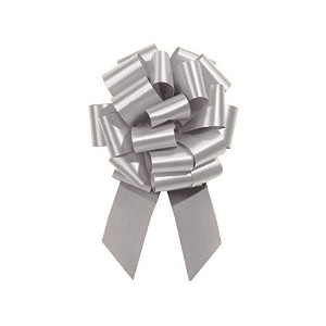 SILVER Pull String Bows - 8 Wide 20 Loops LARGE (2 & 1/2 ribbon) Set of 10 by Premium Quality Gift Wrap Paper
